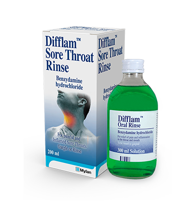 200ml Difflam™ Throat Rinse with packaging