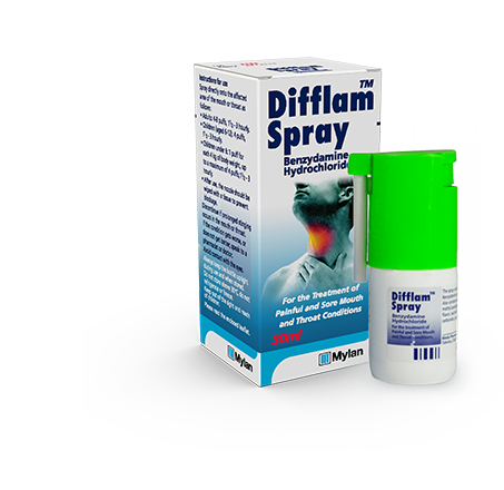 30ml Difflam™ Throat Spray with packaging